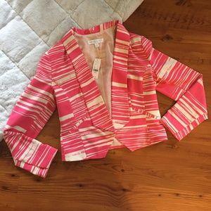 New York & Co. Pink & White Striped Blazer Size S